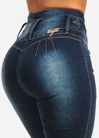 Image of High Waist Butt Lift Dark Wash Jeans