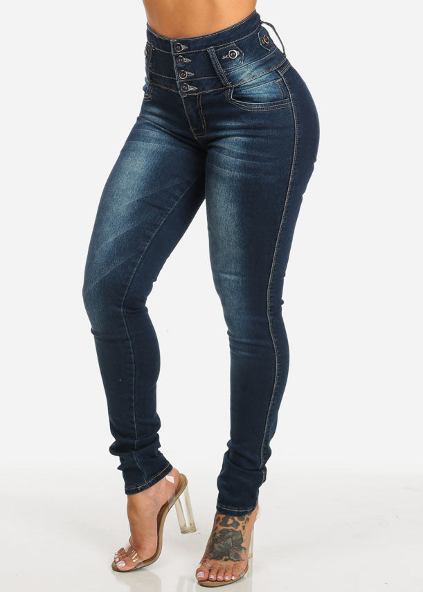High Waist Butt Lift Dark Wash Jeans