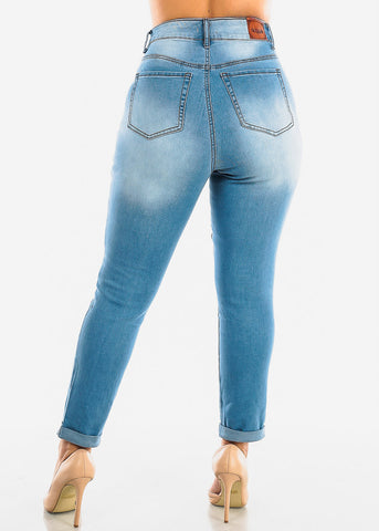 Image of Plus Size Roll Cuff Light Wash Torn Jeans