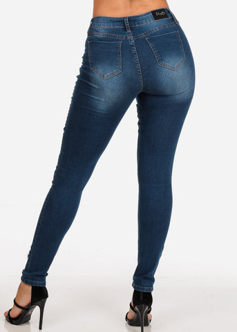 Women's Junior Ladies Low Rise 1 Button Distressed Dark Wash Skinny Jeans