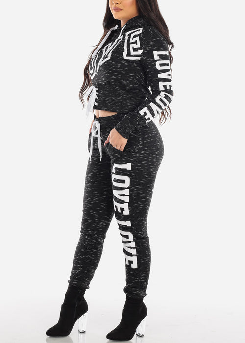 Black Love Sweater & Jogger Pants (2 PCE SET)
