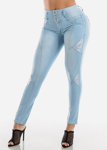 Image of High Rise Light Wash Butt Lifting Skinny Jeans