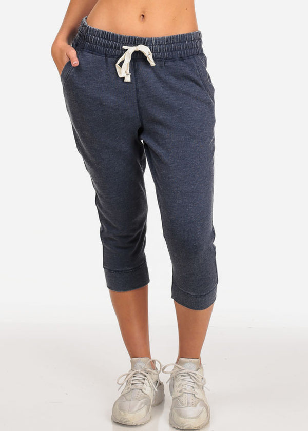 Women's Junior Casual Lounge Wear Navy High Waisted Jersey Capri Joggers