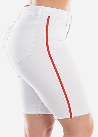 Image of High Waisted Side Stripe White 1 Button Raw Hem Denim Jean Bermuda Shorts For Women Ladies Junior
