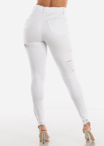 Ultra High Rise Torn White Skinny Jeans