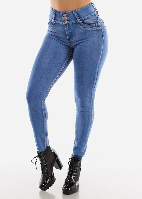 High Rise Butt Lifting Bleach Wash Skinny Jeans