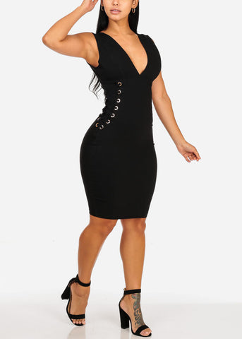 Image of Sexy Black Midi Dress