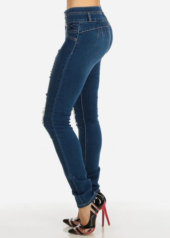 Med Wash Distressed Levanta Cola Low Rise Skinny Jeans