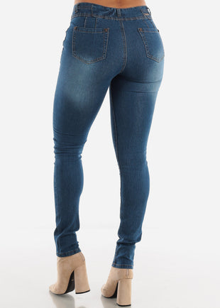 Mid Rise Levanta Cola Skinny Jeans