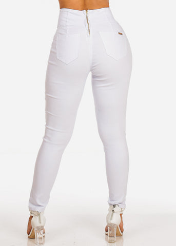 High Rise Gold Button Insets White Skinny Pants