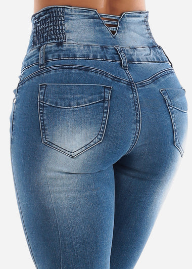 Blue Wash Butt Lifting Ripped Jeans