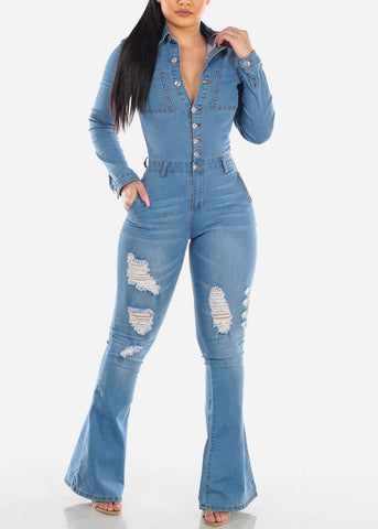 Button Up Torn Med Wash Jumpsuit