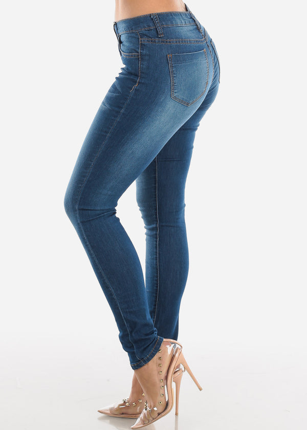 High Rise Medium Wash Skinny Jeans