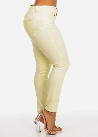 Image of Cache Brand Lime Women's Cropped Skinny Pants