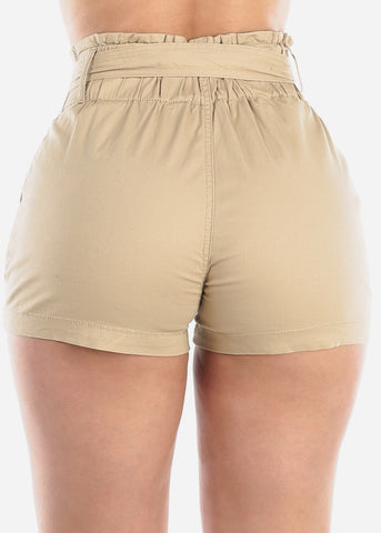 Image of Women's Junior Ladies High Waisted Paperbag Khaki Stretchy Shorts For Summer Vacation Beach 2019 New