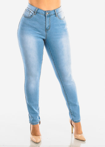 Image of Plus Size Light Wash Skinny Jeans