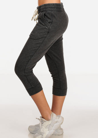 Women's Junior Casual Lounge Wear Charcoal High Waisted Jersey Capri Joggers