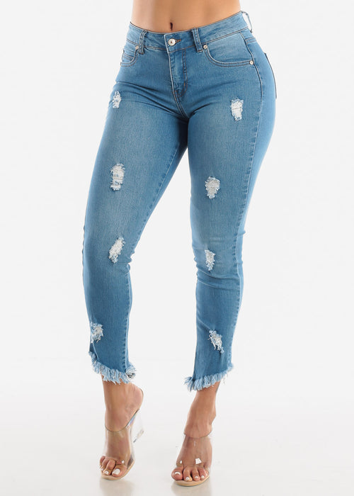 Ripped Bottom High Rise Jeans