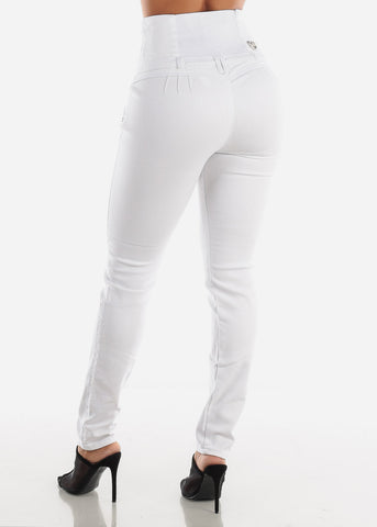 Image of Ultra High Rise Butt Lifting White Skinny Jeans