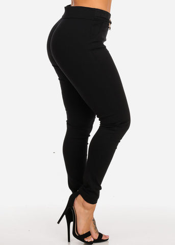 Black Slim Fit Mid Rise Skinny Pants