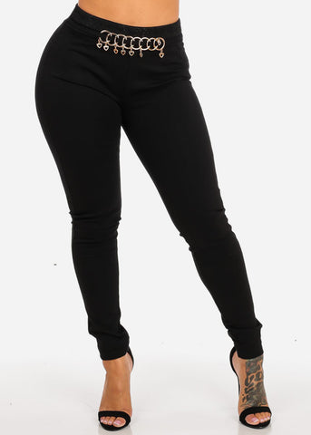 Image of Black Slim Fit Mid Rise Skinny Pants