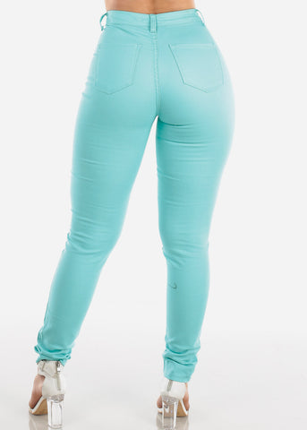 Image of High Rise Aqua Skinny Jeans