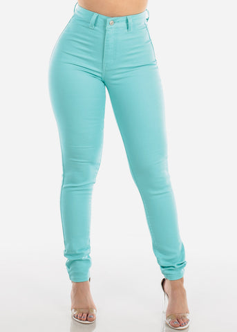 High Waisted Super Stretchy 1 Button Closure Aqua Skinny Jeans For Women Ladies Junior 2019 New
