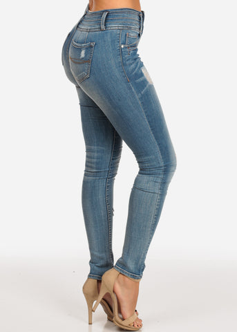 Image of NINE PLANET Stylish Trendy Mid Rise Med Wash 3 Button Distressed Butt Lifting Skinny Jeans