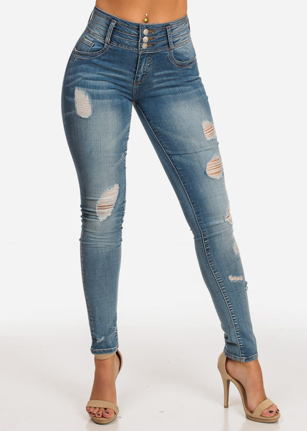 9140449cc NINE PLANET Stylish Trendy Mid Rise Med Wash 3 Button Distressed Butt  Lifting Skinny Jeans ...