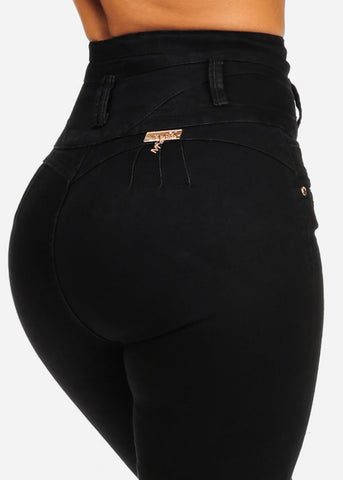 High Waisted Butt Lifting Black Skinny Jeans