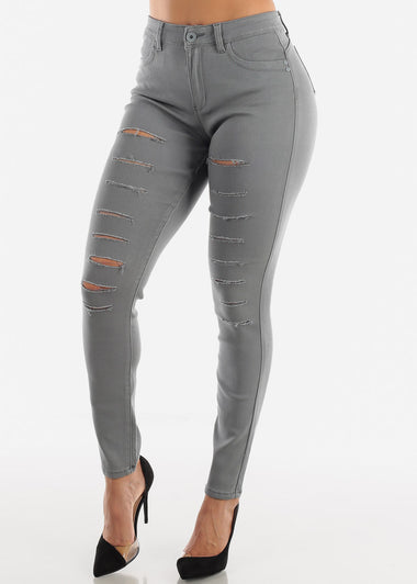 Torn Butt Lifting Grey Skinny Jeans