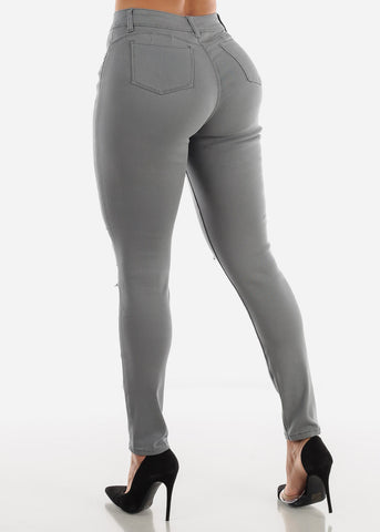 Image of Torn Butt Lifting Grey Skinny Jeans