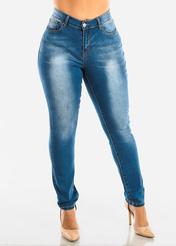 Image of Plus Size Med Wash Skinny Jeans
