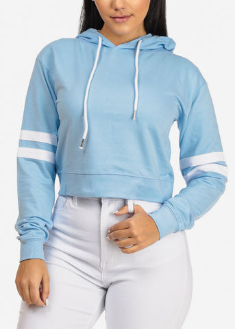 Image of Light Blue Cropped Pullover Sweatshirt