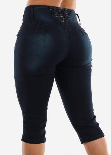 Dark Blue Butt Lifting Capris