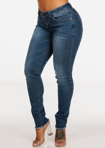 Butt Lifting Mid Rise Med Wash Skinny Jeans