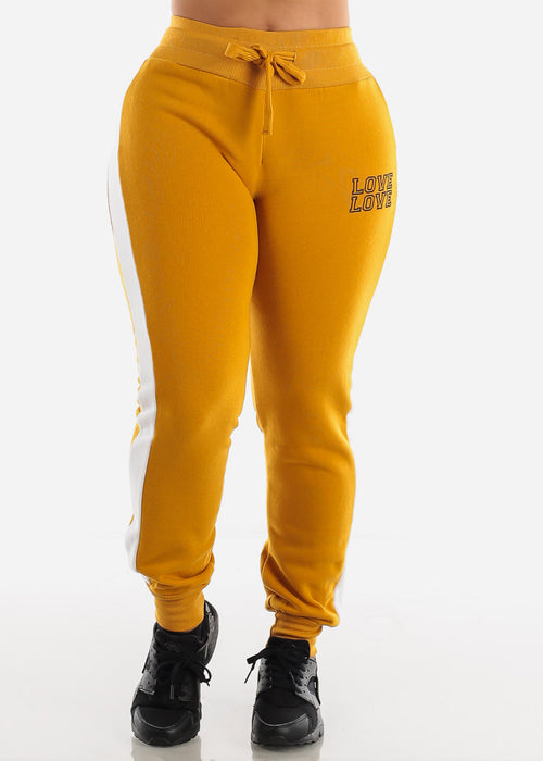 "Mustard Cropped Hoodie & Jogger Sweatpants ""Love"" (2 PCE SET)"