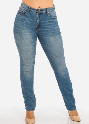 NINE PLANET Plus Size High Rise Denim Jeans
