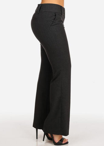 Image of Midi Rise Straight Charcoal Pants
