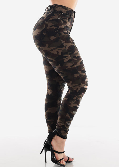 High Waisted 1 Button Distressed Camouflage Print Skinny Jeans