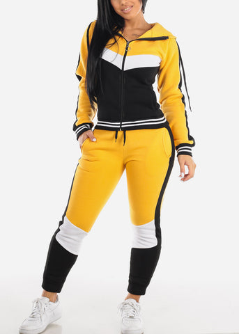 Image of Yellow Colorblock Jacket & Jogger Pants (2 PCE SET)