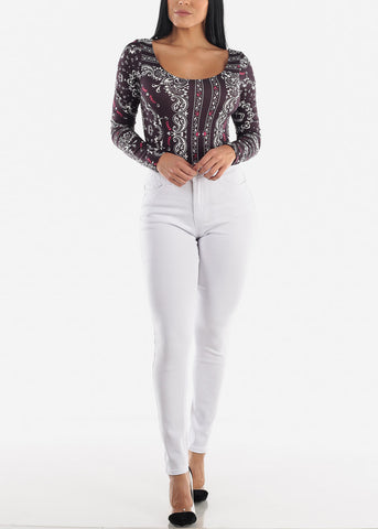 Image of Levanta Cola High Rise White Skinny Jeans