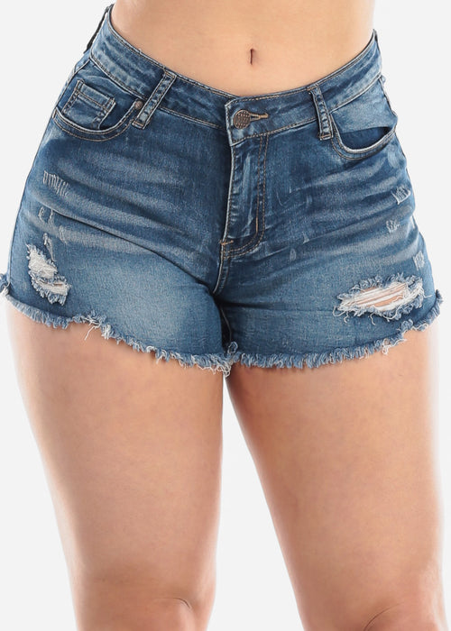 Ripped Whisker Med Wash Denim Shorts