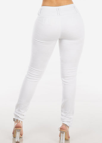 White Butt Lifting Skinny Jeans