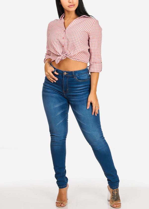 High Rise Med Wash Skinny Jeans