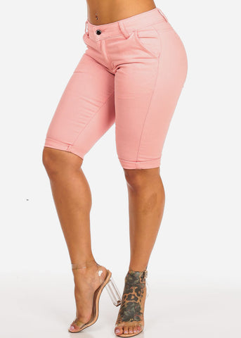 Image of High Waisted Pink Bermuda Shorts