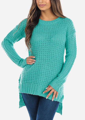 Image of Teal Crochet Knit Sweater