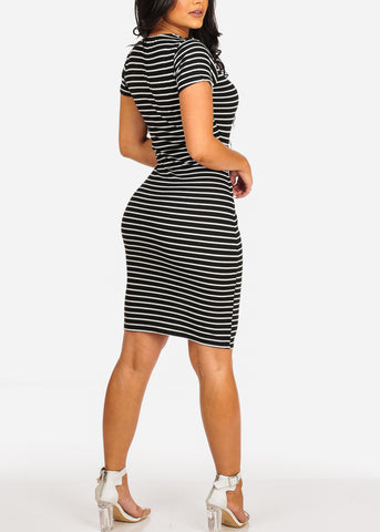 Image of Sexy Casual  Black Stripe Ring Inset V Neckline Bodycon Midi Dress