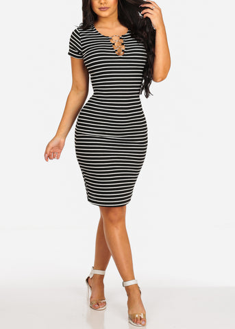 Sexy Casual  Black Stripe Ring Inset V Neckline Bodycon Midi Dress