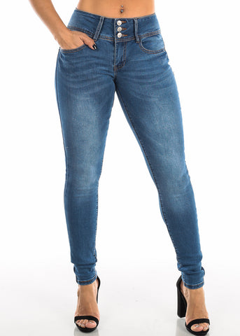 Butt Lifting Blue Wash Skinny Jeans